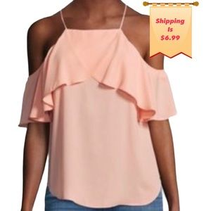 MONTEAU Los Angeles Small Pink Ruffle Camisole Top